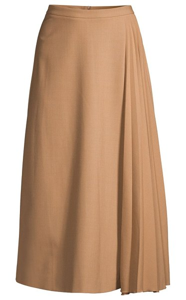 Piazza Sempione pleated panel a-line midi skirt in kaky white