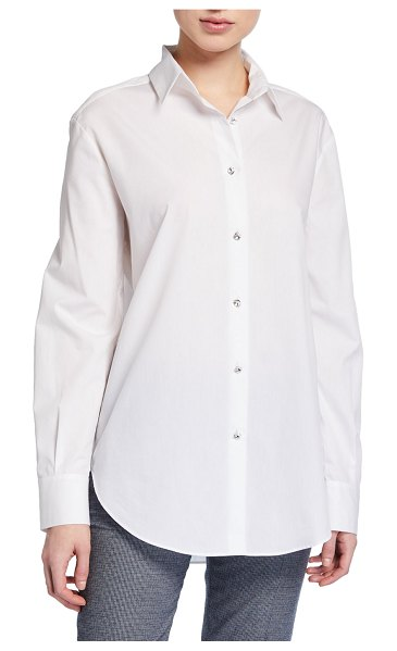 Piazza Sempione Rhinestone Button-Front Tunic in white