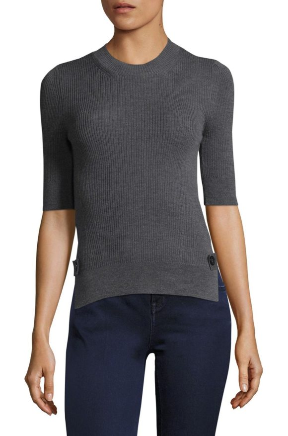 PIAZZA SEMPIONE roundneck wool tee - Classic wool tee in rib-knit detail. Roundneck....