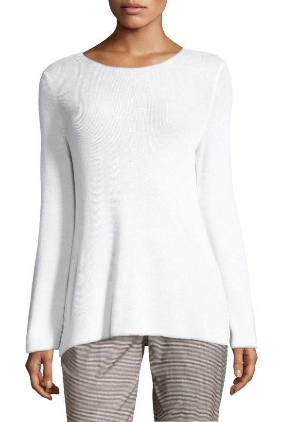 PIAZZA SEMPIONE ribbed sweater in white - Ribbed knit sweater crafted from wool-blend fabric....
