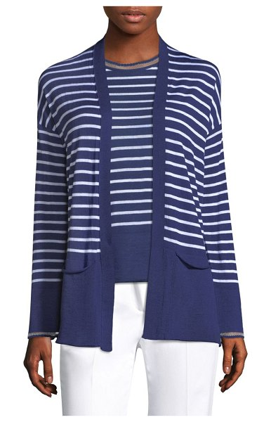 PIAZZA SEMPIONE striped open front cardigan in blue white - Relaxed open front cardigan with allover stripes. Open...