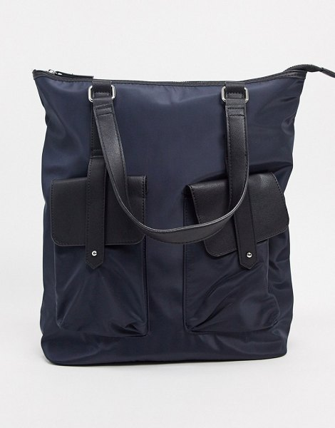 Pieces nylon backpack and shoulder bag in navy in navy