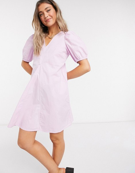 Pieces poplin smock dress with v neck and puff sleeve in orchid-purple in purple