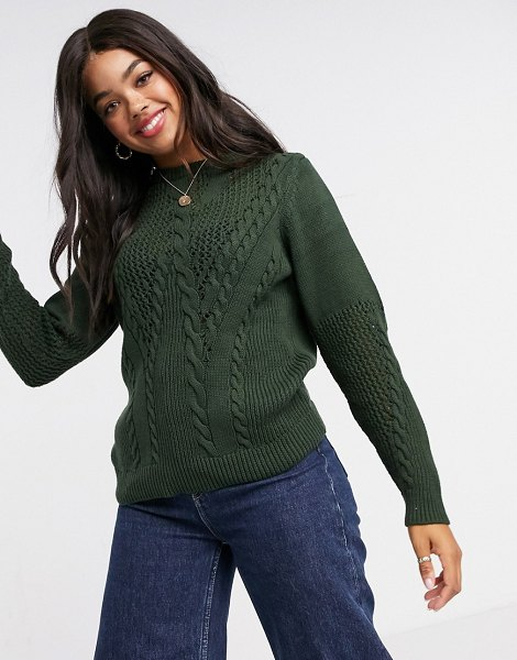 Pieces sweater with cable detail in dark green-black in black