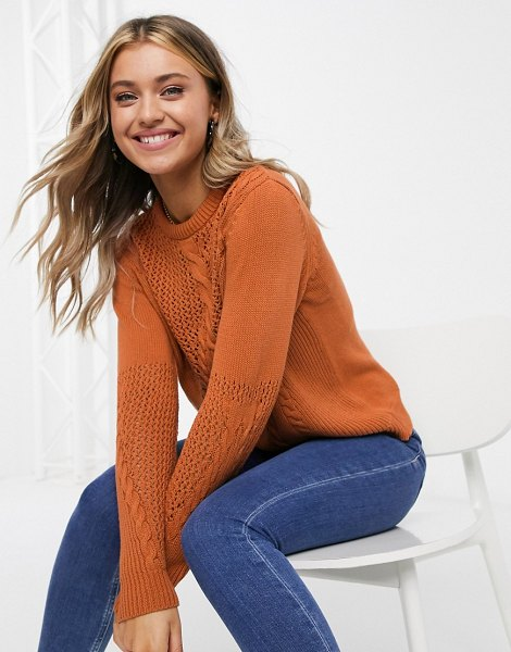 Pieces sweater with cable detail in rust-brown in brown