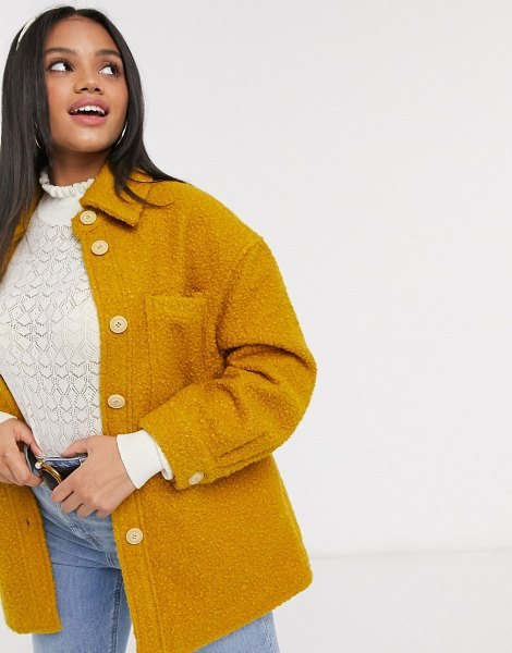 Pieces teddy shirt jacket with pockets in mustard-yellow in yellow