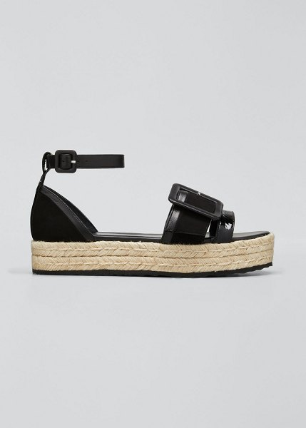 Pierre Hardy Alpha Mixed Leather Espadrille Sandals in black