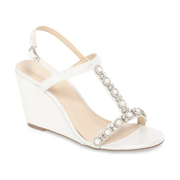 PARADOX LONDON PINK kiana embellished wedge sandal in silver glitter - Twinkling crystal flowers centered by lustrous imitation...