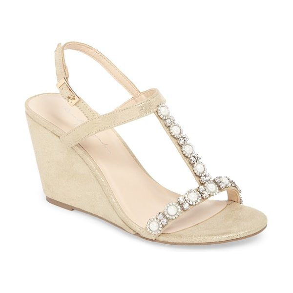PARADOX LONDON PINK kiana embellished wedge sandal in metallic - Twinkling crystal flowers centered by lustrous imitation...