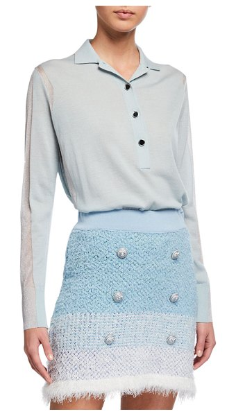 PINKO Carassio Button-Front Metallic Polo Shirt in blue pattern