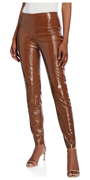 PINKO Faux-Croc Leggings in brown