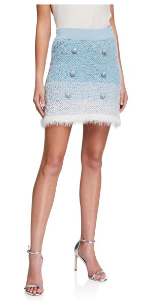 PINKO Remora Button-Front Short Skirt in blue pattern