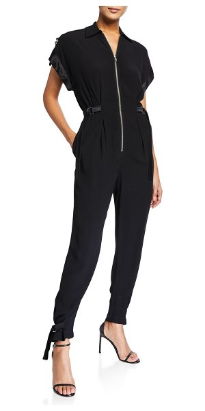PINKO Zip-Front Satin-Trim Jumpsuit in black