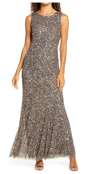 Pisarro Nights beaded a-line gown in smoke