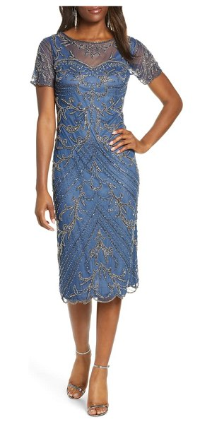 Pisarro Nights illusion beaded mesh cocktail dress in blue