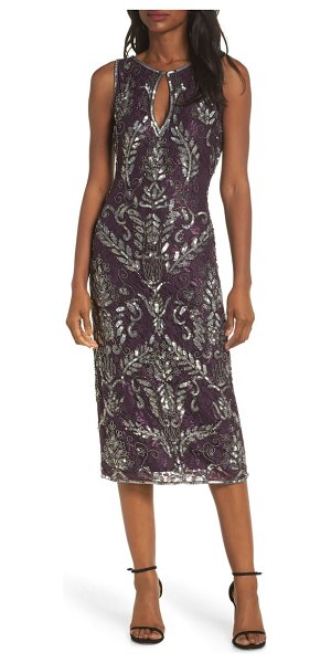 Pisarro Nights sequin lace sheath dress in burgundy - Beaded and sequined floral lace adds depth, texture and...