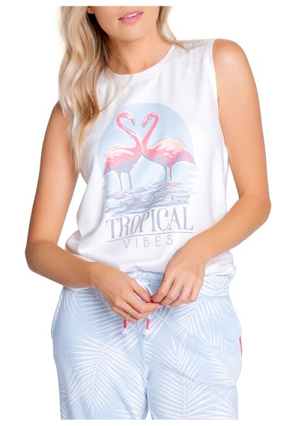 PJ Salvage tropical jersey muscle tank in ivory