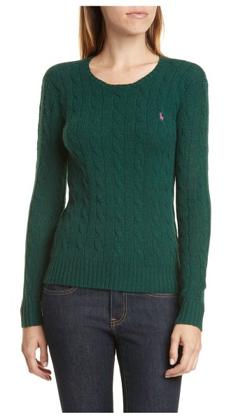 Polo Ralph Lauren cable knit cotton sweater in forest green heather