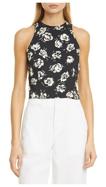 Polo Ralph Lauren crop embellishment floral top in black/ white floral