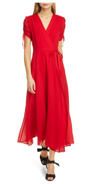 Polo Ralph Lauren ely ruched short sleeve wrap dress in red
