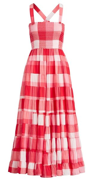 Polo Ralph Lauren fye gingham maxi dress in pink white