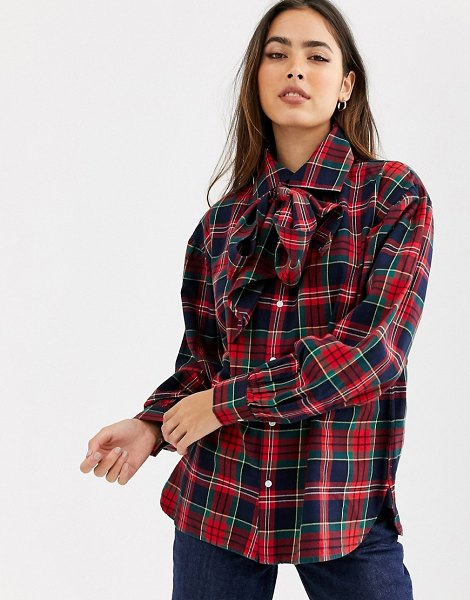 Polo Ralph Lauren pussy bow check shirt in check-red in red
