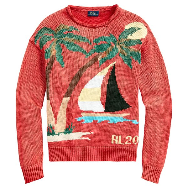 Polo Ralph Lauren sail graphic knit sweater in red multi
