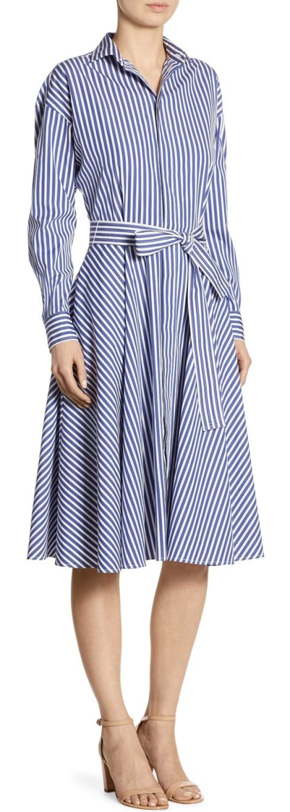 Polo Ralph Lauren Striped Cotton Poplin Shirtdress In Blue Shopstasy