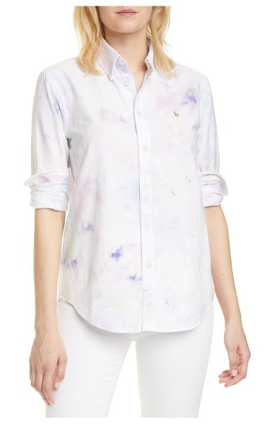Polo Ralph Lauren tie dye cotton button-down shirt in white