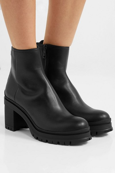 Prada 55 leather ankle boots in black
