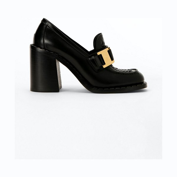 Prada 85mm Topstitch Leather Buckle Loafers in black