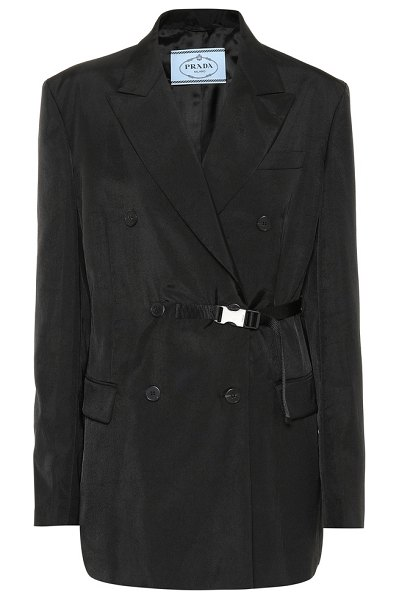 Prada belted double-breasted blazer in black