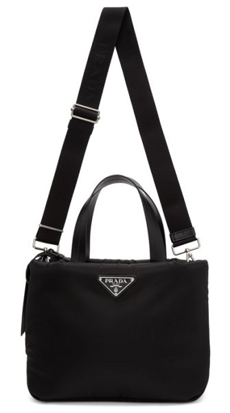 Prada black mini padded tote in f0002 black - Padded nylon twill tote in black. Tonal buffed leather...