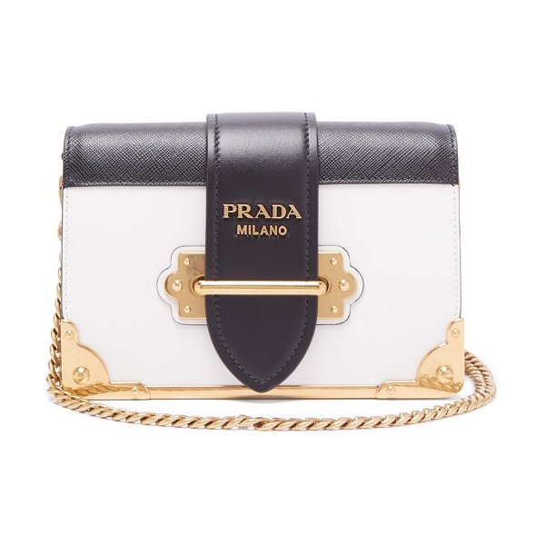 Prada cahier leather cross body bag in black white