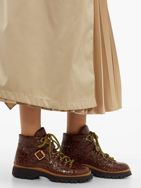 Prada crocodile embossed leather ankle boots in tan