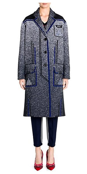 Prada jacquard mouline' tec straight coat in nero blue - A re-imagined outerwear look, this menswear-inspired...