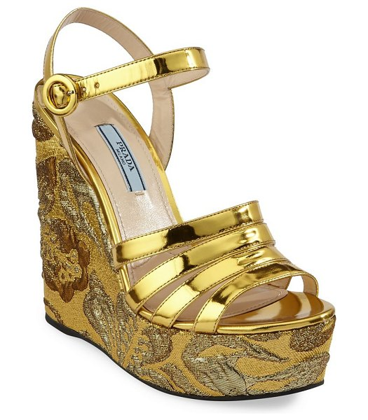 d9aaca84a76 Prada Leather Platform Wedge Sandals in Yellow
