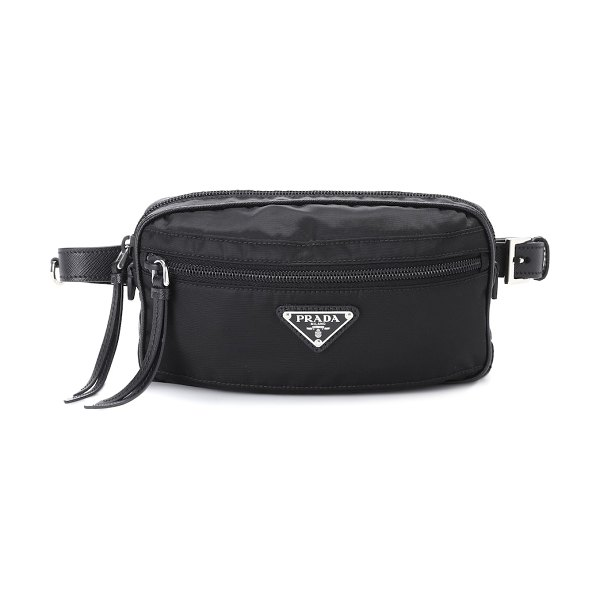 Prada leather-trimmed belt bag in black