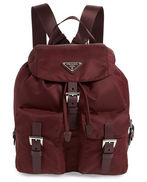 Prada medium nylon backpack in bordeaux