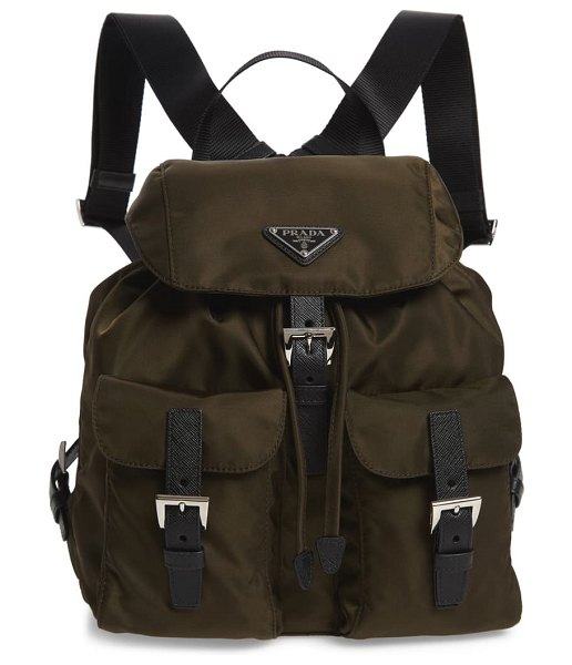 Prada medium nylon backpack in mimetico