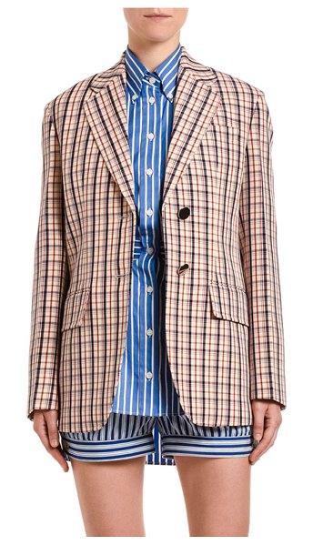 Prada Micro-Check Gabardine Blazer in red pattern