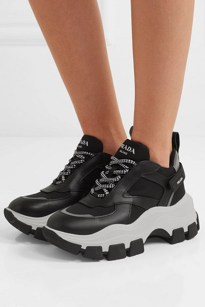 Prada nylon and leather sneakers in black