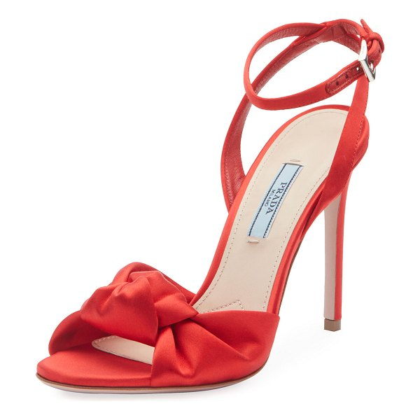 Prada Satin Knot-Front Sandals in red