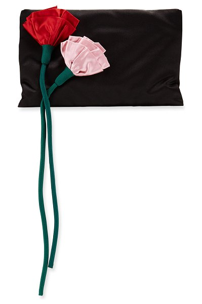 Prada Satin Rose Crossbody Bag in black