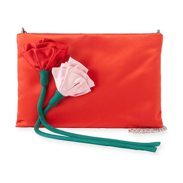 Prada Satin Rose Crossbody Bag in red