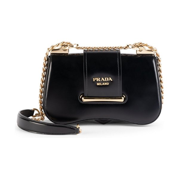 Prada sidonie patent leather crossbody bag in black