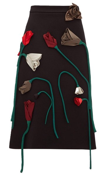 Prada silk-flower appliqué a-line wool skirt in black multi