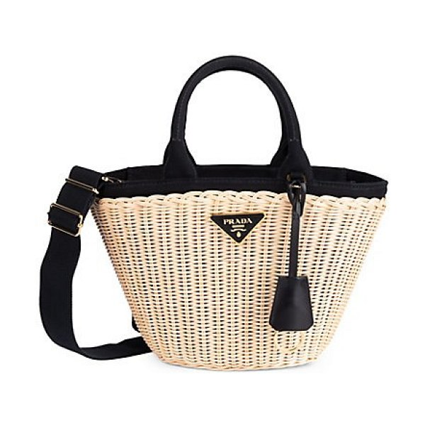 Prada small basket tote in tan - This structured woven wicker tote edged in canvas is...