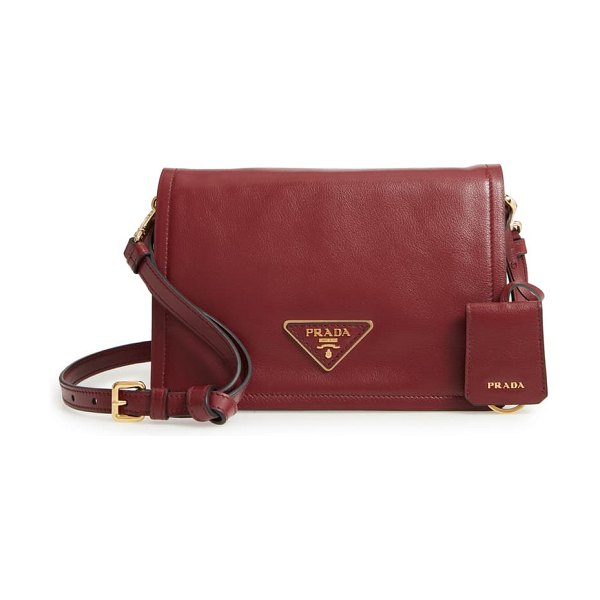 Prada small glace calfskin leather crossbody bag in cerise