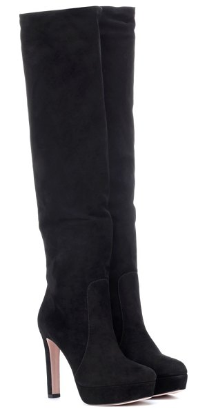 Prada suede knee-high boots in black